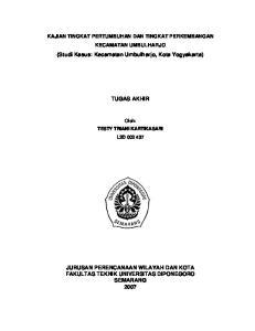 (Studi Kasus: Kecamatan Umbulharjo, Kota Yogyakarta) TUGAS AKHIR
