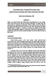 Studi Media Dalam Perspektif Komunikasi Islam (Analisis Esensi Komunikasi Islam Dalam Diseminasi Informasi) Abdul Karim Batubara, MA
