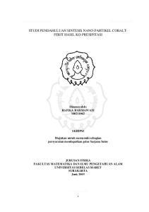 STUDI PENDAHULUAN SINTESIS NANO-PARTIKEL COBALT- FERIT HASIL KO-PRESIPITASI