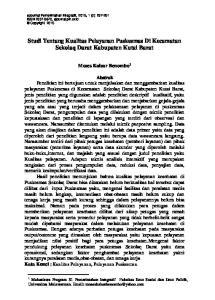 Studi Tentang Kualitas Pelayanan Puskesmas Di Kecamatan Sekolaq Darat Kabupaten Kutai Barat