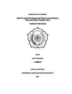 Studi Tentang Pertimbangan dari Hakim tentang Klausula Eksonerasi dalam Perjanjian Baku NASKAH PUBLIKASI