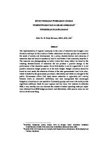 STUDI TERHADAP PEMBAGIAN URUSAN PEMERINTAHAN DAN ALOKASI ANGGARAN 1 PENDIDIKAN DI JAWA BARAT. Oleh: Dr. H. Dody Hermana, MBA.,M.Si, dkk 2