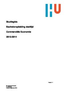 Studiegids. Bacheloropleiding deeltijd. Commerciële Economie Versie 1.1