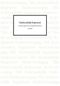 Studievereniging TBK Huishoudelijk
