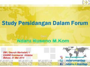 Study Persidangan Dalam Forum. DM ( Dauroh Marhalah) 1 KAMMI Komisariat Unisma Bekasi, 31 Mei 2014