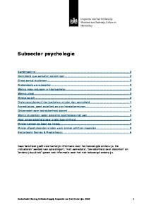 Subsector psychologie
