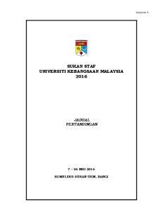 SUKAN STAF UNIVERSITI KEBANGSAAN MALAYSIA 2016