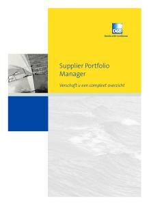 Supplier Portfolio Manager