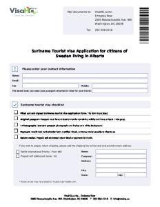 Suriname Tourist visa Application for citizens of Sweden living in Alberta