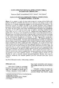 SURVEI KEMATIAN NEONATAL (STUD1 AUTOPSI VERBAL) DI KABUPATEN CIREBON, 2004 ' Sarimawar ~jaja~, Soewarta ~ osen~, Felly P. senewe2, Iwan riaw wan^