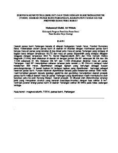 SURVEI MAGNETOTELLURIK (MT) DAN TIME DOMAIN ELEKTROMAGNETIK (TDEM) DAERAH PANAS BUMI PARIANGAN, KABUPATEN TANAH DATAR PROVINSI SUMATERA BARAT