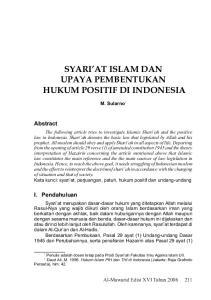 SYARI AT ISLAM DAN UPAYA PEMBENTUKAN HUKUM POSITIF DI INDONESIA