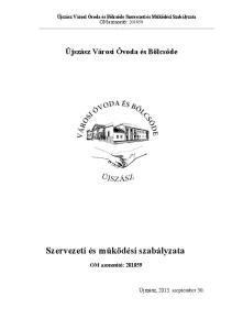 Szervezeti és működési szabályzata