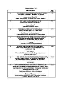 Table of Content: Part 2. Titles and Authors 1. PENDIDIKAN FORMAL BAGI MASYARAKAT PEKERJA LADANG KELAPA SAWIT DI SABAH MALAYSIA