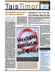 TaisTimor. Juni 2001 Vol. 2, No. 28. Berita Mingguan deterbitkan dalam bahasa Tetun, Inggris, Portugis dan Bahasa Indonesia diedarkan secara cuma-cuma