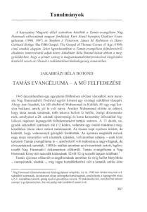 Tanulmányok JAKABHÁZI BÉLA BOTOND TAMÁS EVANGÉLIUMA - A MŰ FELFEDEZÉSE
