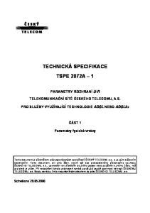 TECHNICKÁ SPECIFIKACE TSPE 2072A 1