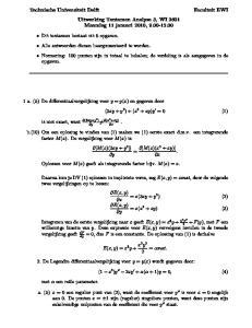 Technische Universiteit Delft Uitwerking Tentamen Analyse 3, WI 2601 Maandag 11 januari 2010,