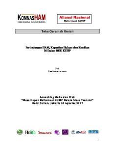Teks Ceramah Ilmiah Perlindungan HAM, Kepastian Hukum dan Keadilan Di Dalam RUU KUHP