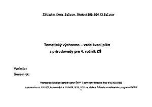 Tematický výchovno vzdelávací plán z prírodovedy pre 4. ročník ZŠ