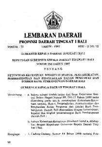 TEMBARAN DAERAH. : 1. Undang-Undang Nomor 64 Tahun 1958 tentang Pem- PROPINSI DABRAH TINGKAT I BALI TENTANG