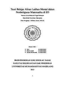 Teori Belajar Aliran Latihan Mental dalam Pembelajaran Matematika di SD