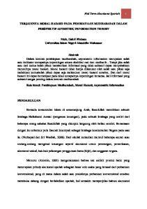TERJADINYA MORAL HAZARD PADA PEMBIAYAAN MUDHARABAH DALAM PERSPEKTIF ASYMETRIC INFORMATION THEORY