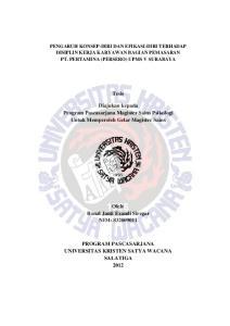 Tesis. Diajukan kepada Program Pascasarjana Magister Sains Psikologi Untuk Memperoleh Gelar Magister Sains