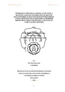 Tesis. Untuk Memenuhi Sebagian Persyaratan Mencapai Gelar Magister Program Studi Magister Pendidikan Sejarah. Oleh: Eko Puji Sumaryanto S
