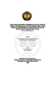 TESIS. Untuk memperoleh gelar Magister Pendidikan pada Universitas Negeri Semarang. Oleh Sudiyanto NIM