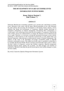 THE DEVELOPMENT OF SYARI'AH COOPERATIVES INFORMATION SYSTEM MODEL. Ronny Malavia Mardani *) Budi Wahono **)