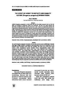 THE EFFECT OF HONEY TO MOTILITY AND VIABILITY CATFISH (Pangasius pangasius) SPERMATOZOA