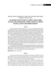 THE MARKETING EFFICIENCY OF SWEET CORN IN WKO VILLAGE, IN] COUNTRYSIDE OF WKO, CENTRE OF TOBELO DISTRICT, NORTH HALMAHERA REGENCY
