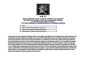 (THE TIMOR-LESTE NATIONAL ALLIANCE FOR AN INTERNATIONAL TRIBUNAL)