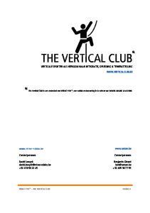 THE VERTICAL CLUB VERTICALE SPORTEN ALS HEFBOOM NAAR INTEGRATIE, OPLEIDING & TEWERKSTELLING