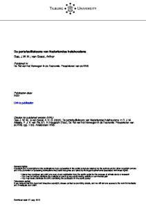 Tilburg University. De portefeuillekeuze van Nederlandse huishoudens Das, J.W.M.; van Soest, Arthur