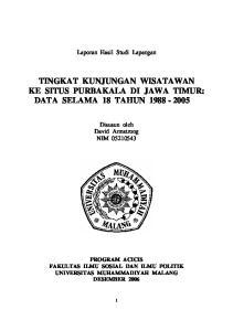 TINGKAT KUNJUNGAN WISATAWAN KE SITUS PURBAKALA DI JAWA TIMUR: DATA SELAMA 18 TAHUN