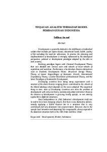TINJAUAN ANALITIS TERHADAP MODEL PEMBANGUNAN INDONESIA