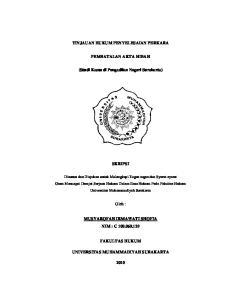 TINJAUAN HUKUM PENYELESAIAN PERKARA PEMBATALAN AKTA HIBAH. (Studi Kasus di Pengadilan Negeri Surakarta)