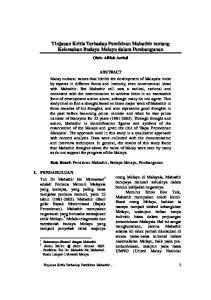 Tinjauan Kritis Terhadap Pemikiran Mahathir tentang Kelemahan Budaya Melayu dalam Pembangunan