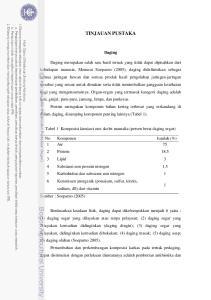 TINJAUAN PUSTAKA. Daging. Tabel 1 Komposisi kimiawi otot skelet mamalia (persen berat daging segar)