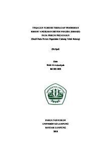 TINJAUAN YURIDIS TERHADAP PEMBERIAN KREDIT ANGSURAN SISTEM FIDUSIA (KREASI) PADA PERUM PEGADAIAN (Studi Pada Perum Pegadaian Cabang Teluk Betung)