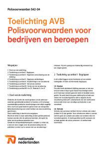 Toelichting AVB Polisvoorwaarden voor bedrijven en beroepen