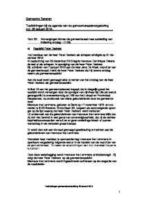 Toelichtingen bij de agenda van de gemeenteraadsvergadering d.d. 26 januari