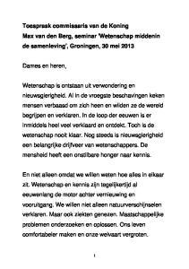 Toespraak commissaris van de Koning Max van den Berg, seminar 'Wetenschap middenin de samenleving', Groningen, 30 mei 2013