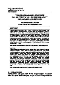 TRANSFORMASIONAL GENERATIF DALAM CERPEN ALL SUMMER IN A DAY KARANGAN RAY BRADBURY
