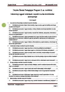 Törpike Óvoda Pedagógiai Program 2. sz. melléklet