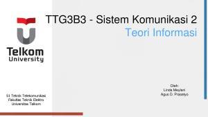 TTG3B3 - Sistem Komunikasi 2 Teori Informasi