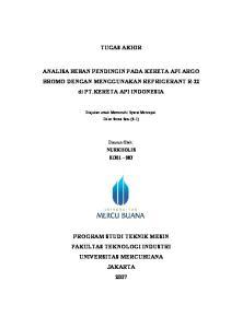 TUGAS AKHIR. ANALISA BEBAN PENDINGIN PADA KERETA API ARGO BROMO DENGAN MENGGUNAKAN REFRIGERANT R-22 di PT.KERETA API INDONESIA