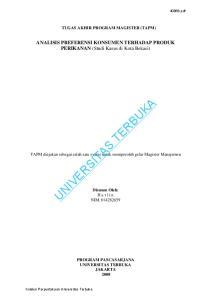 TUGAS AKHIR PROGRAM MAGISTER (TAPM) ANALISIS PREFERENSI KONSUMEN TERHADAP PRODUK PERIKANAN (Studi Kasus di Kota Bekasi) UNIVERSITAS TERBUKA